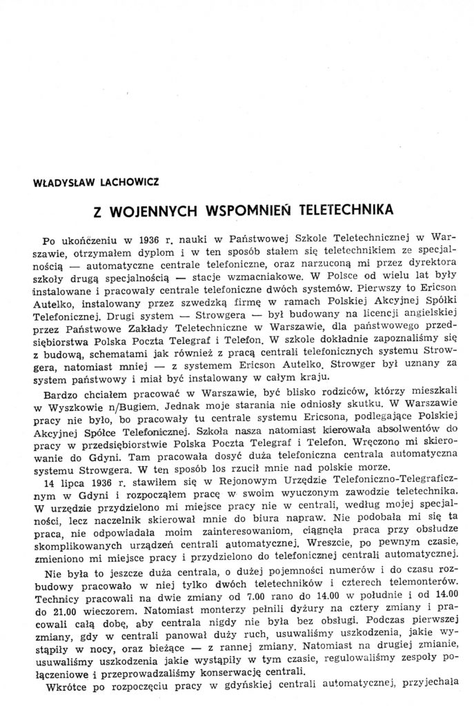 Z wojennych wspomnień teletechnika