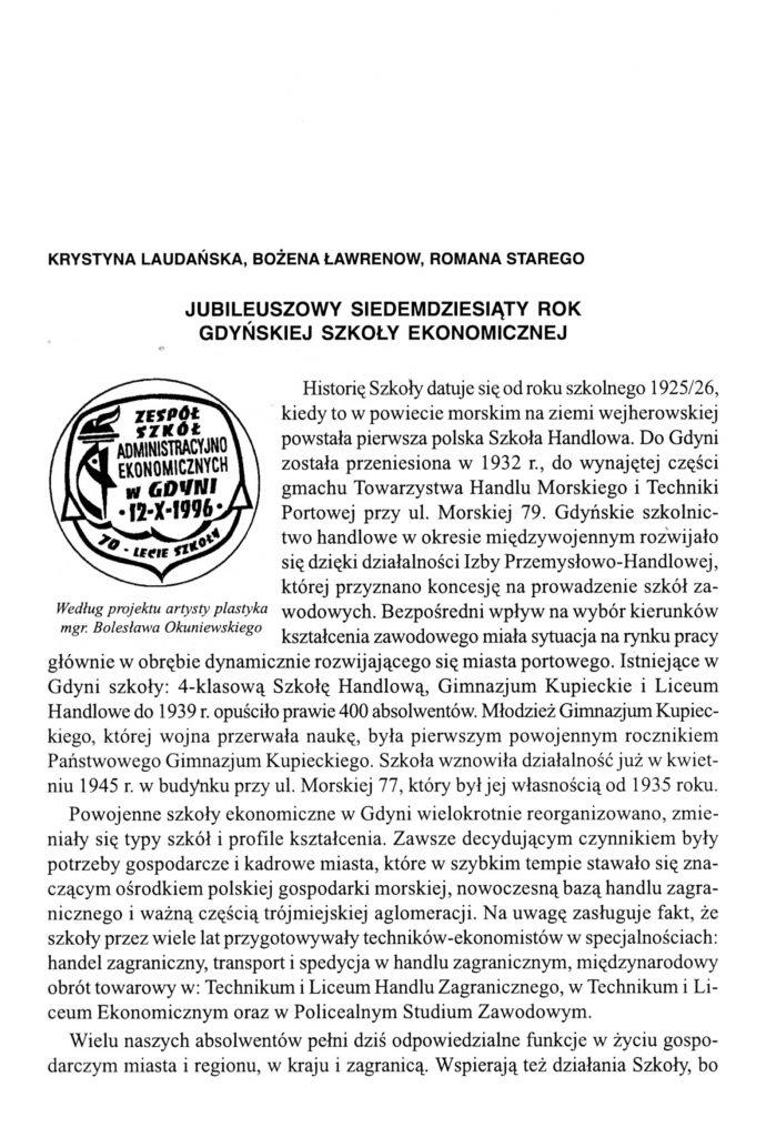 Jubileuszowy siedemdziesiąty rok Gdyńskiej Szkoły Ekonomicznej