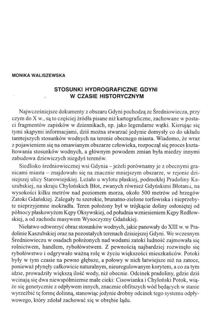 Stosunki hydrograficzne Gdyni w czasie historycznym