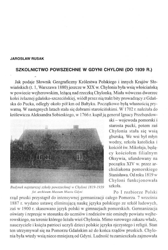 Szkolnictwo powszechne w Gdyni Chyloni (do 1939 r.)