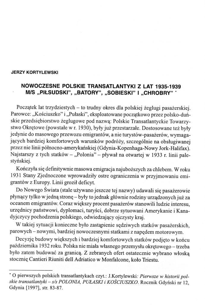 """Nowoczesne polskie transatlantyki z lat 1935-1939 m/s """"Piłsudski"""", """"Batory"""" i """"Chrobry"""""""