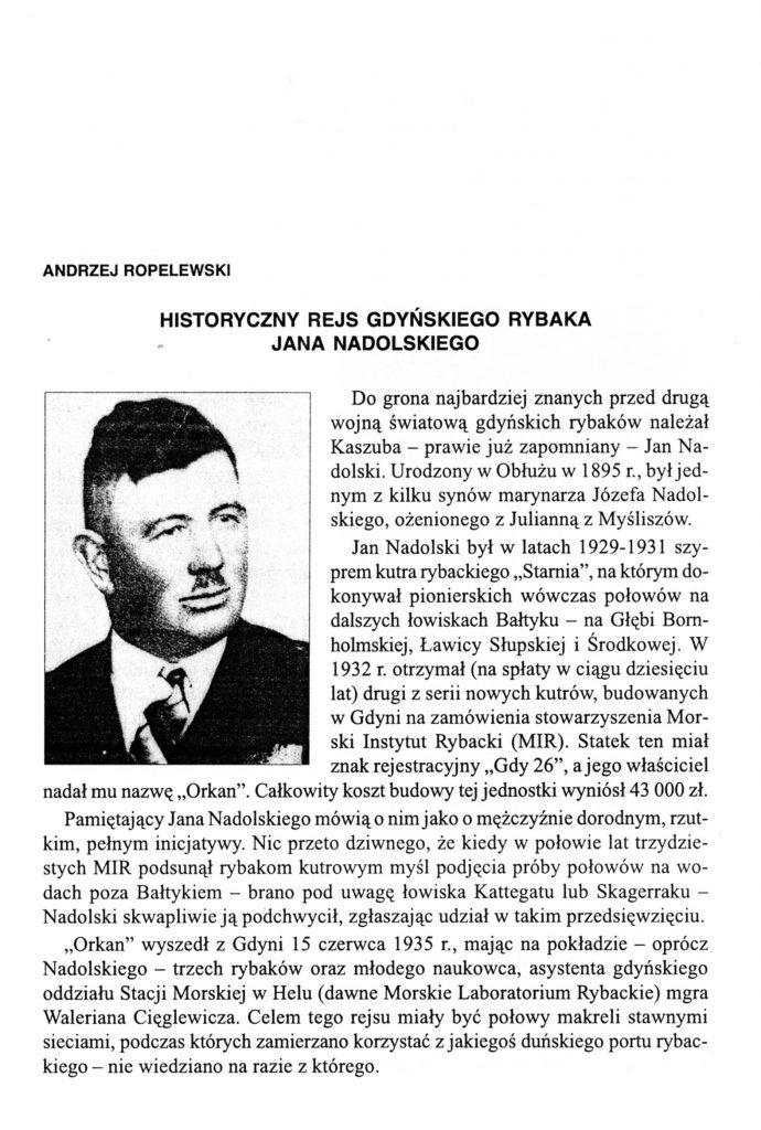 Historyczny rejs gdyńskiego rybaka Jana Nadolskiego