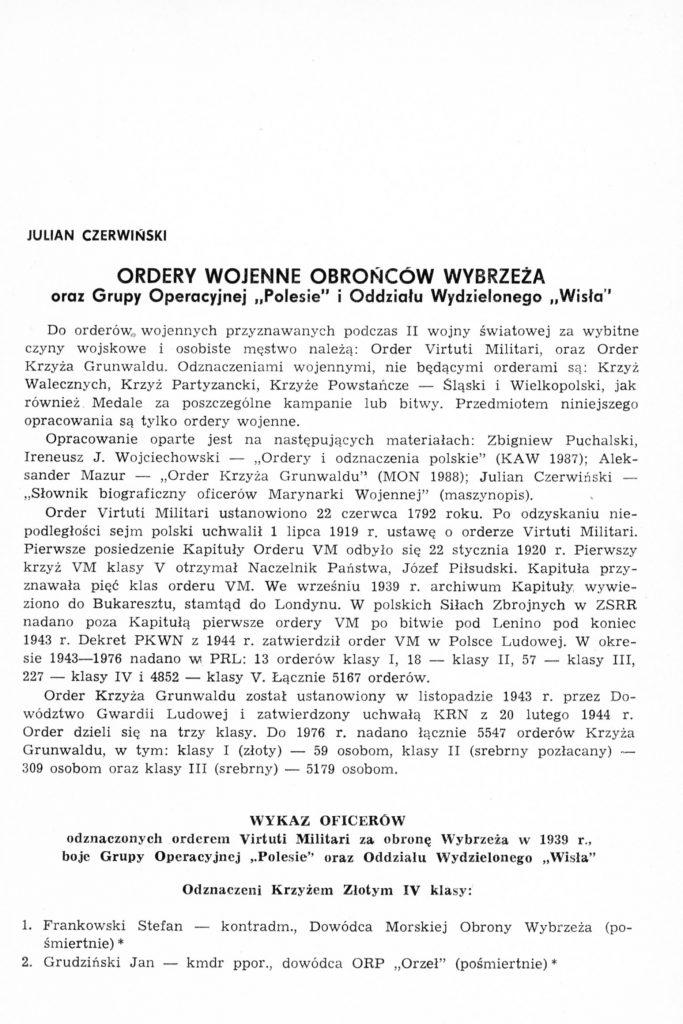 """Ordery wojenne obrońców Wybrzeża oraz Grupy Operacyjnej """"Polesie"""" i """"Oddziału Wydzielonego """"Wisła"""""""