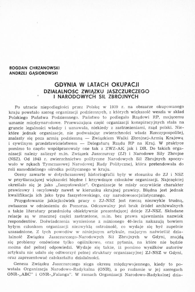 Gdynia w latach okupacji. Działalność Związku Jaszczurczego i Narodowych Sił Zbrojnych