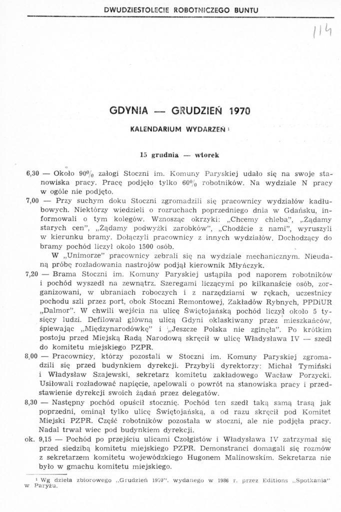 Gdynia - Grudzień 1970: kalendarium wydarzeń