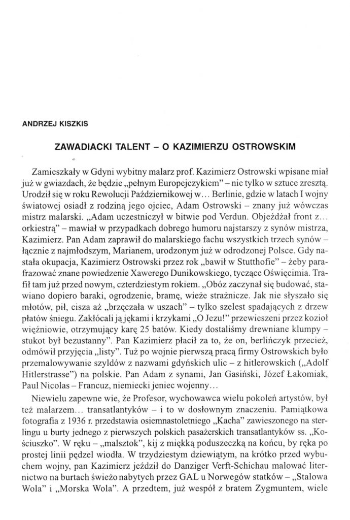 Zawadiacki talent - o Kazimierzu Ostrowskim