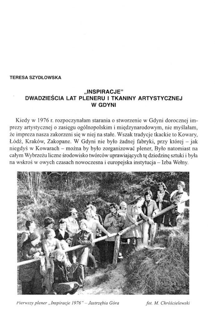 """""""Inspiracje"""" dwadzieścia lat pleneru i tkaniny artystycznej w Gdyni"""
