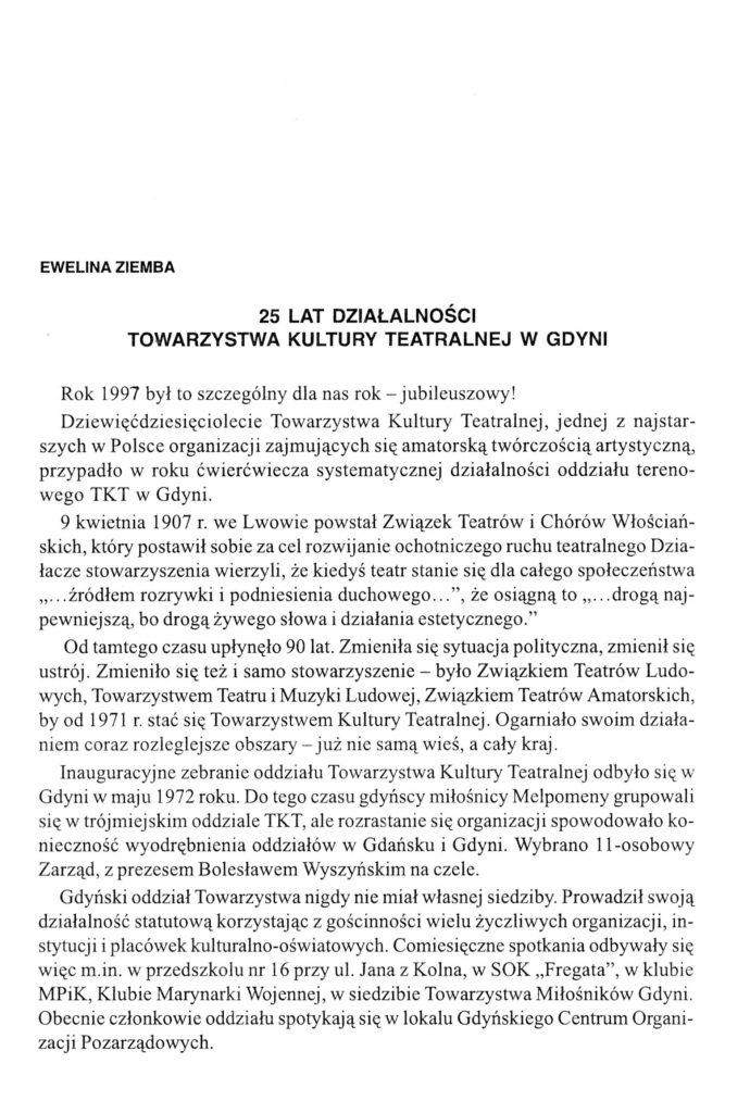 25 lat działalności Towarzystwa Kultury Teatralnej w Gdyni
