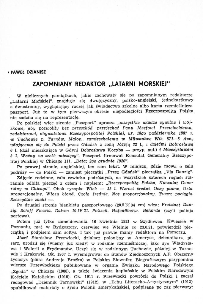 "Zapomniany redaktor ""Latarni Morskiej"""