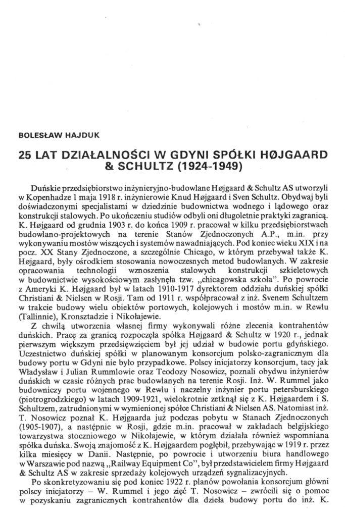 25 lat działalności w Gdyni spółki Hojgaard and Schultz (1924-1925)