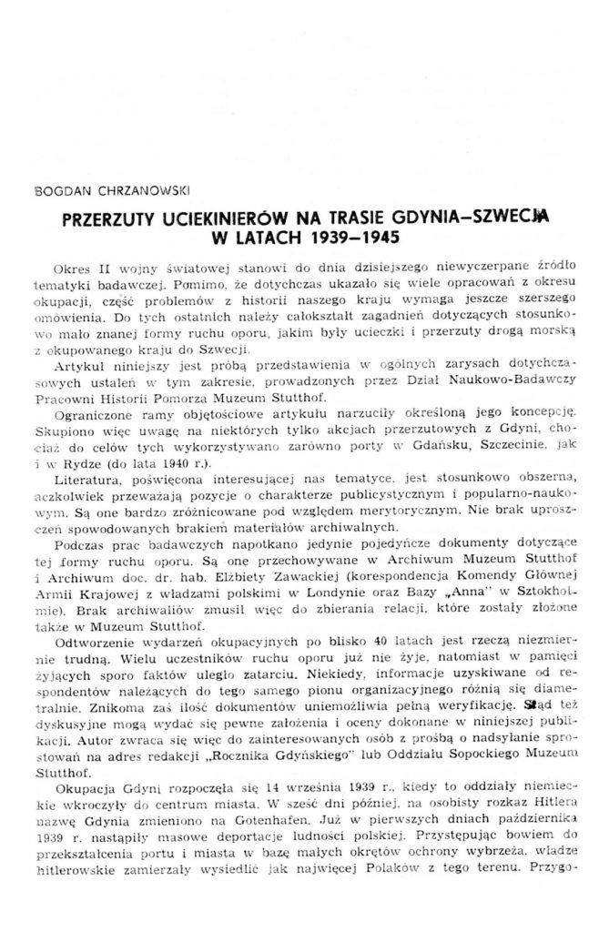 Przerzuty uciekinierów na trasie Gdynia - Szwecja w latach 1939-1945
