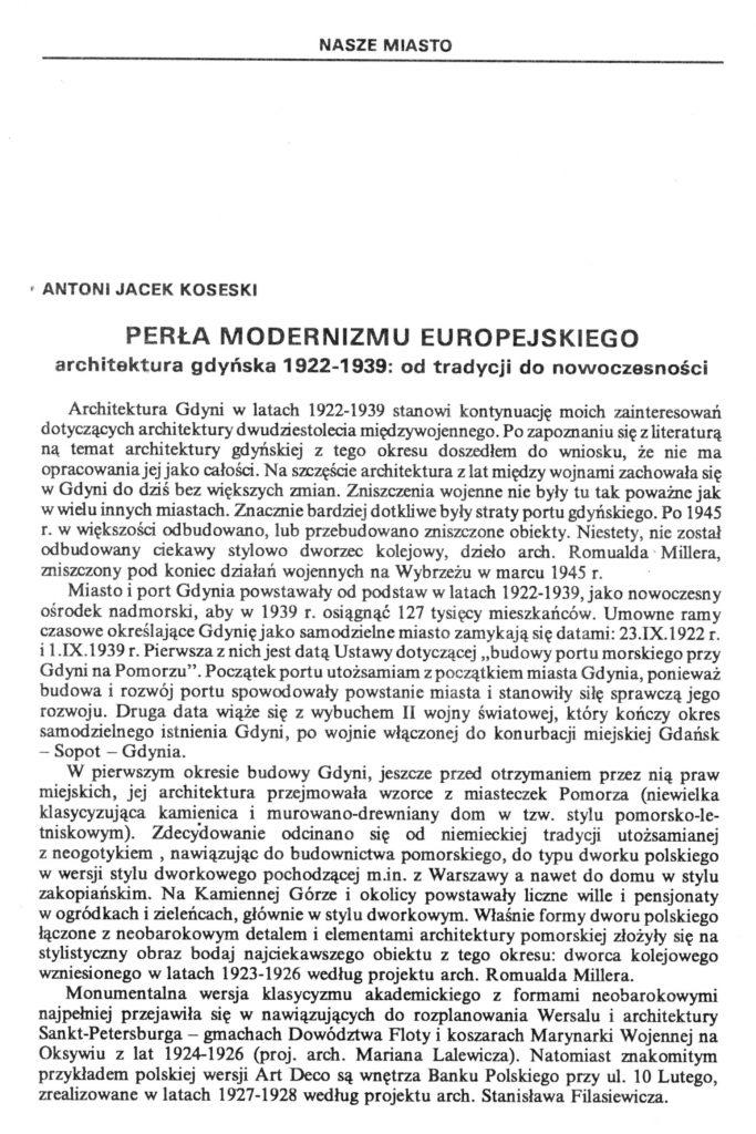 Perła modernizmu europejskiego. Architektura gdyńska 1922-1939: od tradycji do nowoczesności