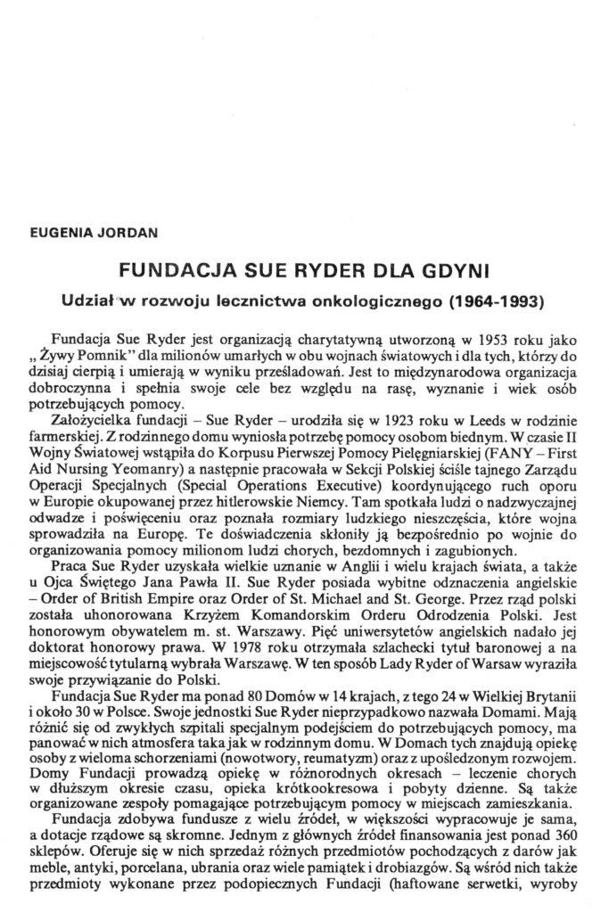 Fundacja Sue Ryder dla Gdyni. Udział w rozwoju lecznictwa onkologicznego (1964-1993)