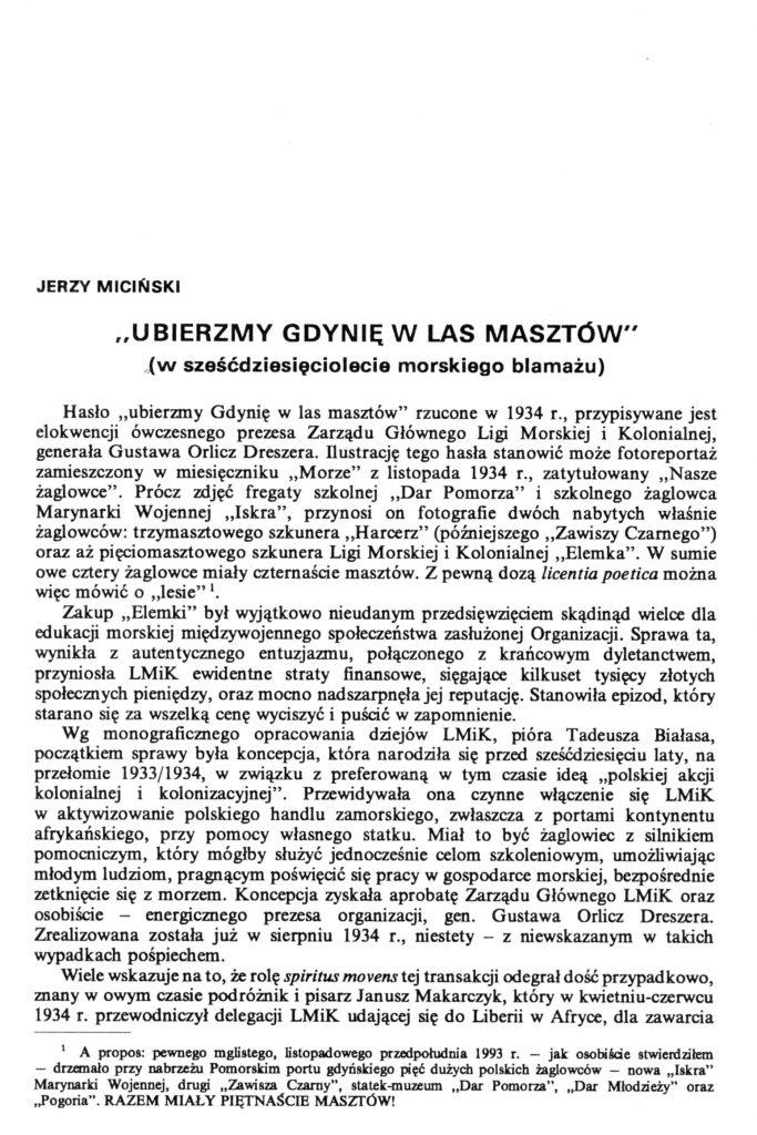 """""""Ubierzmy Gdynię w las masztów"""" (w sześćdziesięciolecie morskiego blamażu)"""