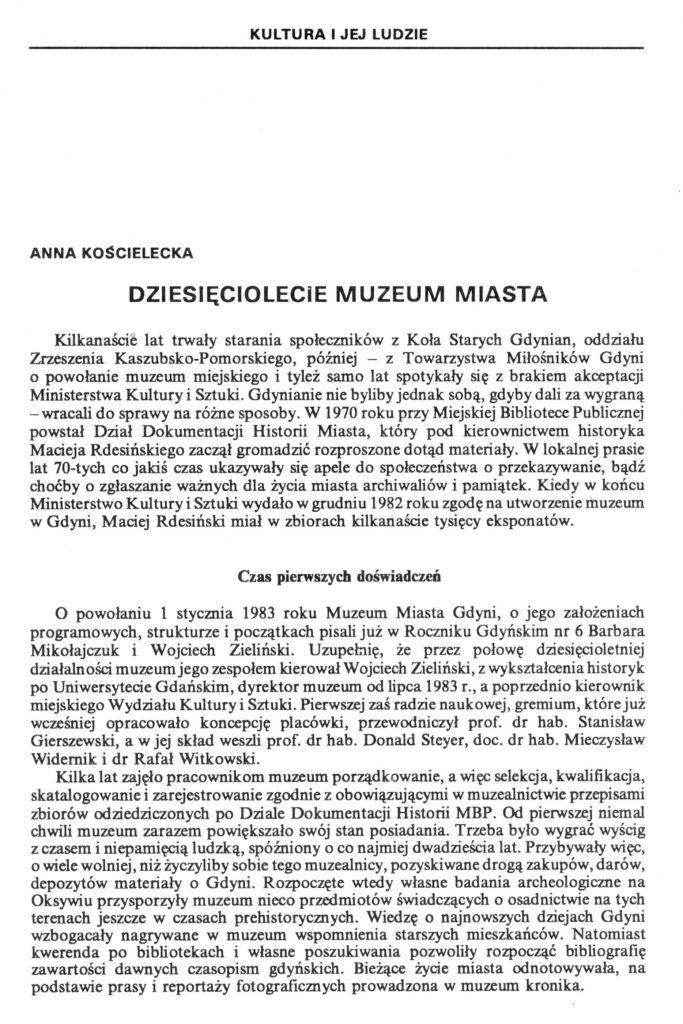 Dziesięciolecie Muzeum Miasta