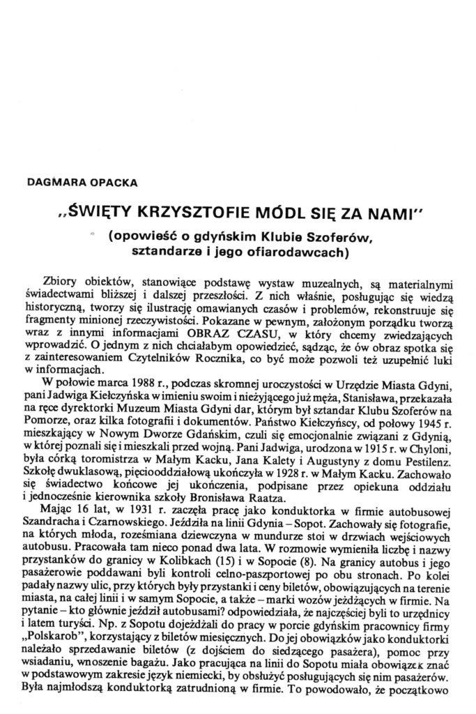"""""""Święty Krzysztofie módl się za nami"""" (opowieść o gdyńskim Klubie Szoferów, sztandarze i jego ofiarodawcach)"""