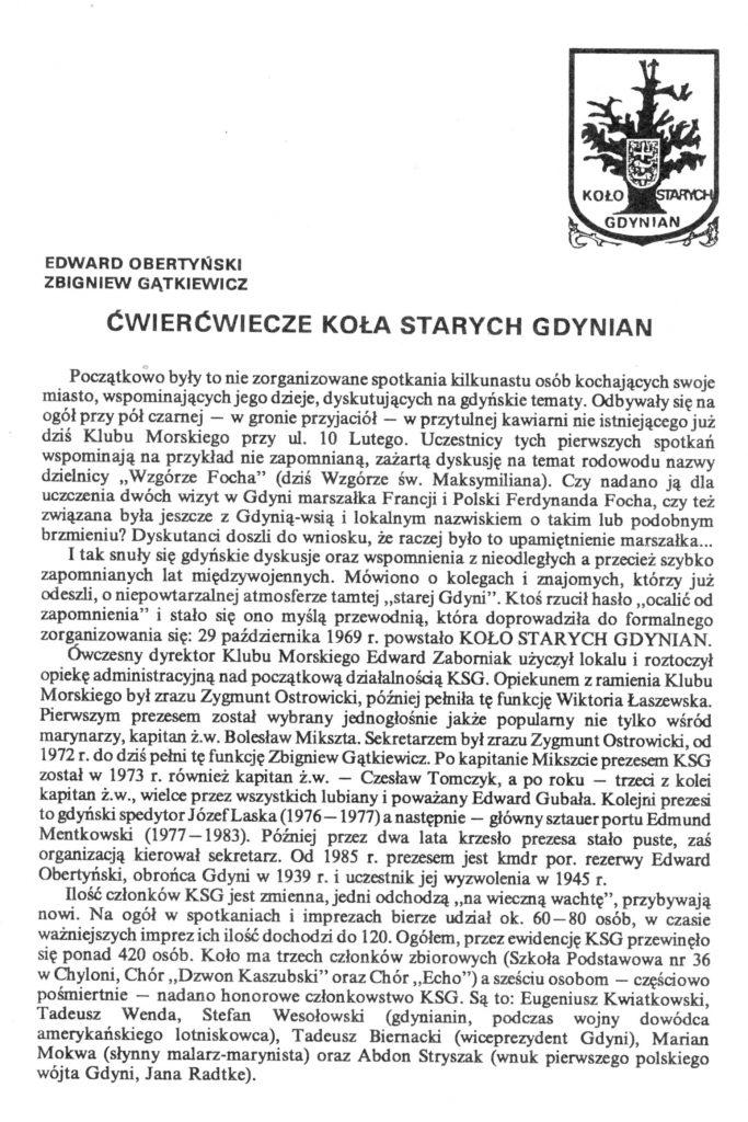 Ćwierćwiecze Koła Starych Gdynian