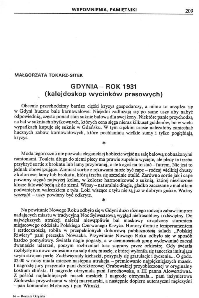 Gdynia - rok 1931 kalejdoskop wycinków prasowych)