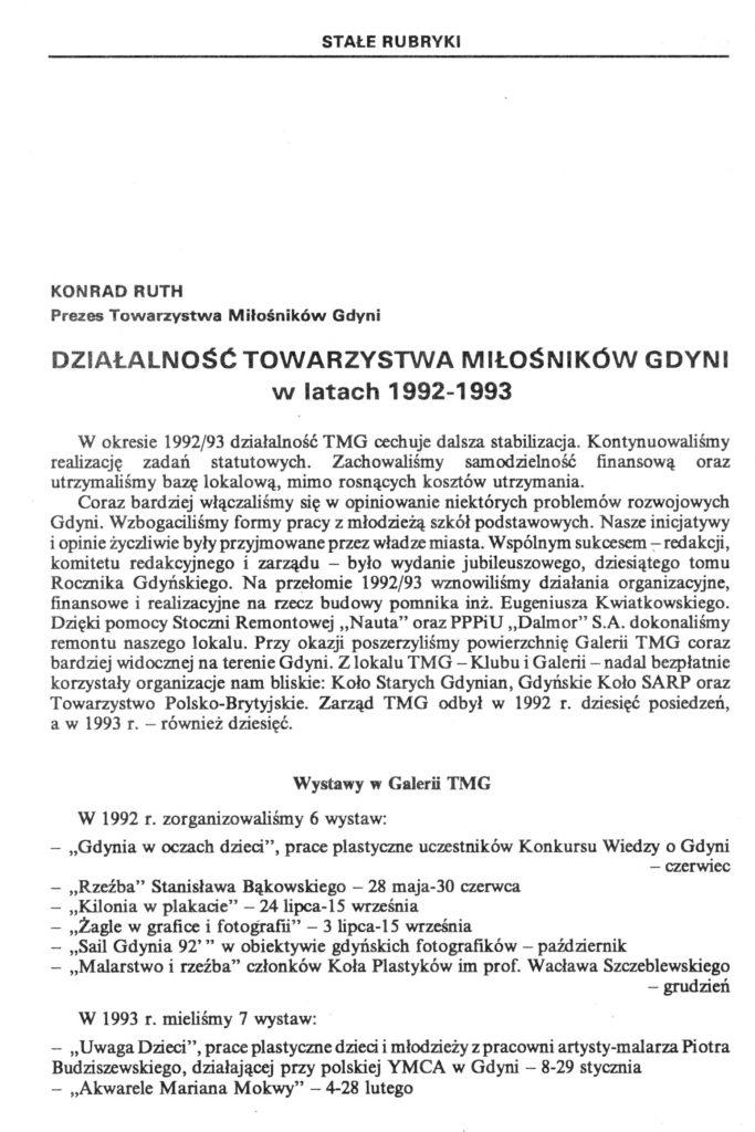 Działalność Towarzystwa Miłośników Gdyni w latach 1992-1993