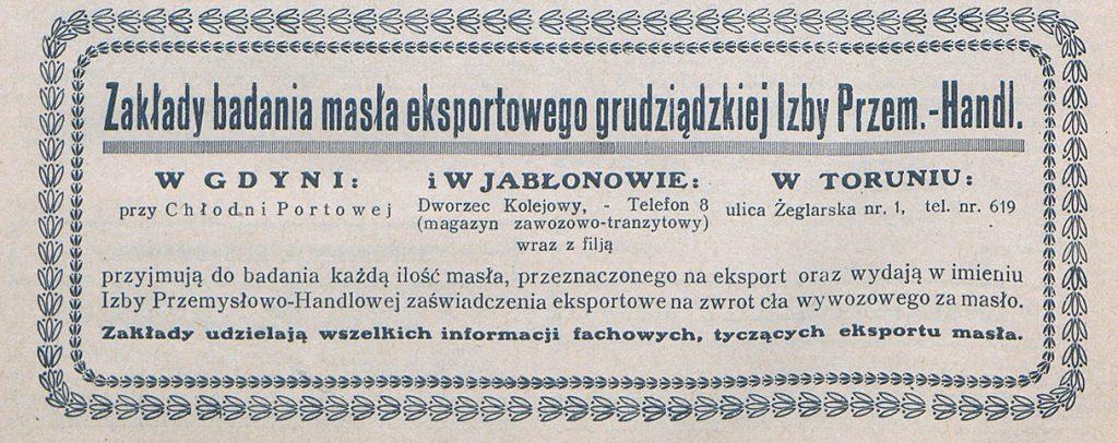 Zakłady badania masła eksportowego grudziądzkiej Izby Przem.-Handl.
