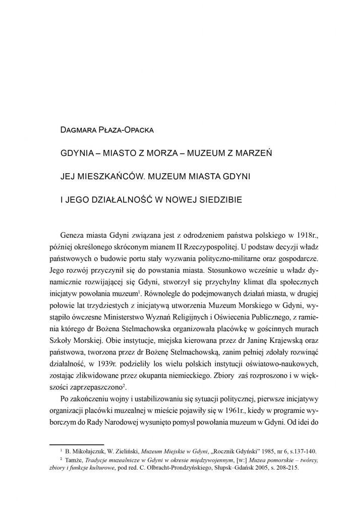 Gdynia - miasto z morza - muzeum z marzeń jej mieszkańców. Muzeum Miasta Gdyni i jego działalność w nowej siedzibie