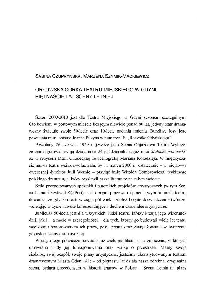 Orłowska córka Teatru Miejskiego w Gdyni. Piętnaście lat Sceny Letniej