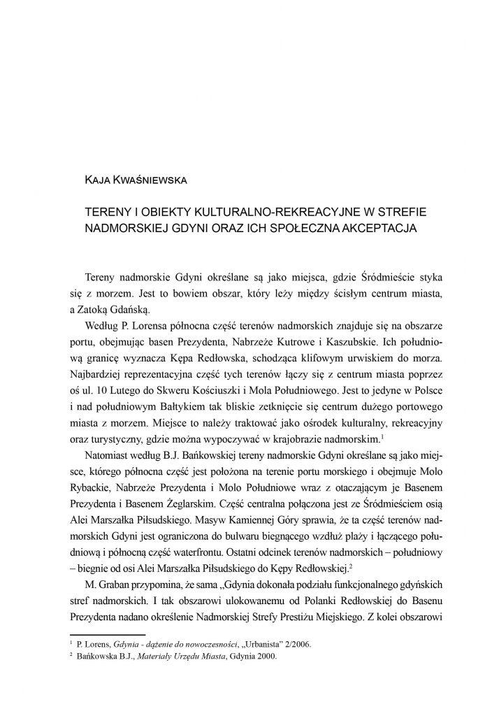 Tereny i obiekty kulturalno-rekreacyjne w strefie nadmorskiej Gdyni oraz ich społeczna akceptacja