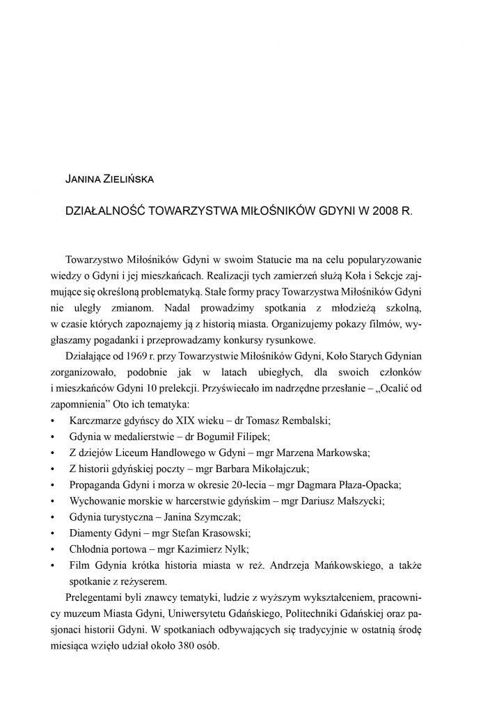 Działalność Towarzystwa Miłośników Gdyni  w 2008 roku