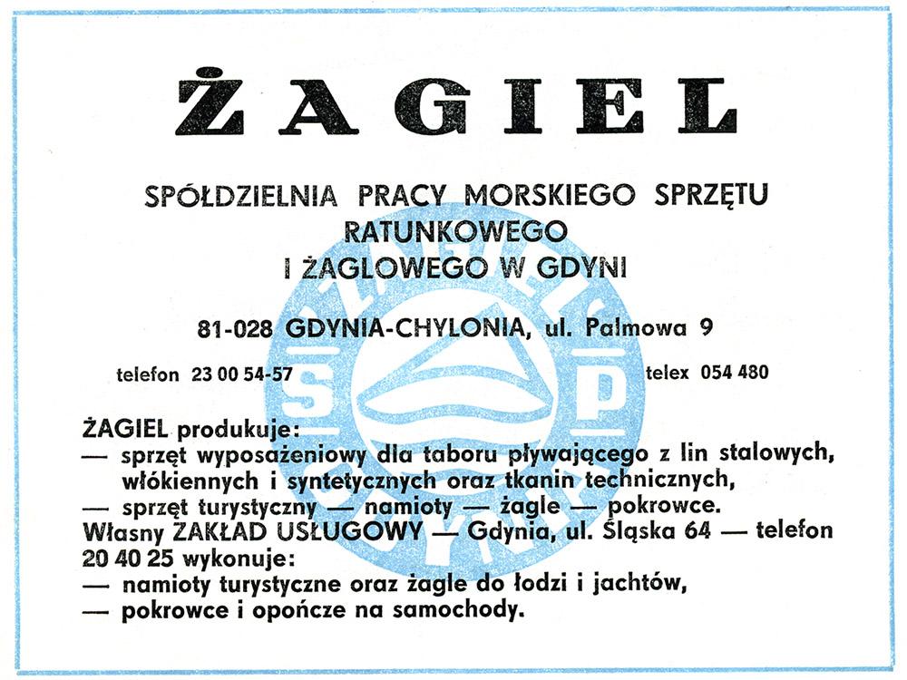 ŻAGIEL Spółdzielnia Pracy Morskiego Sprzętu Ratunkowego Żaglowego w Gdyni