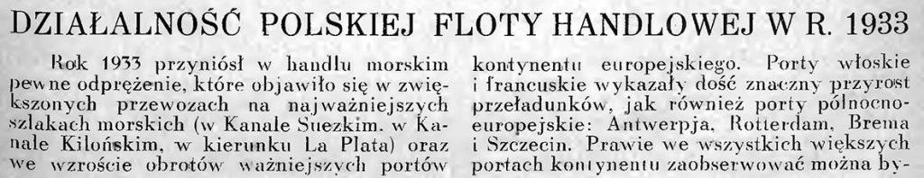 Działalność polskiej floty handlowej w r. 1933