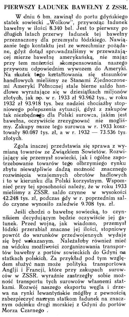 Pierwszy ładunek bawełny z ZSRR