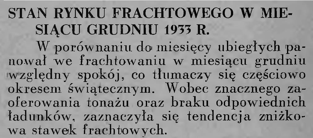 Stan rynku frachtowego w miesiącu grudniu 1933 r.