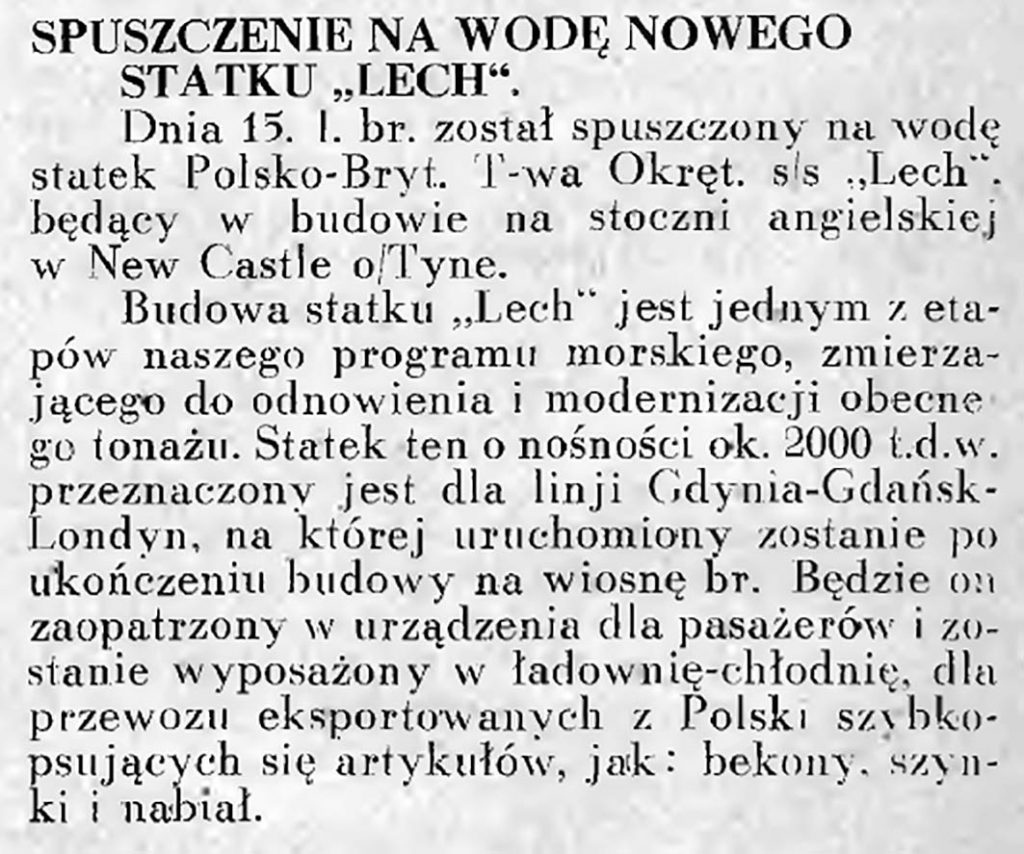 """Spuszczenie na wodę nowego statku """"Lech"""""""