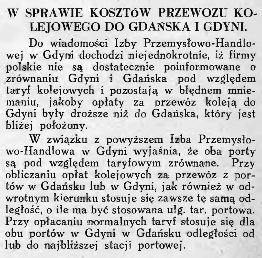 W sprawie kosztów przewozu kolejowego do Gdańska i Gdyni
