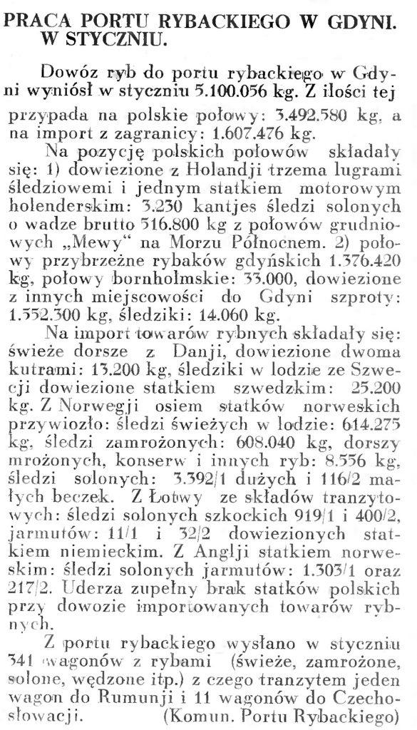 Praca portu rybackiego w Gdyni. W styczniu [1936 r.]