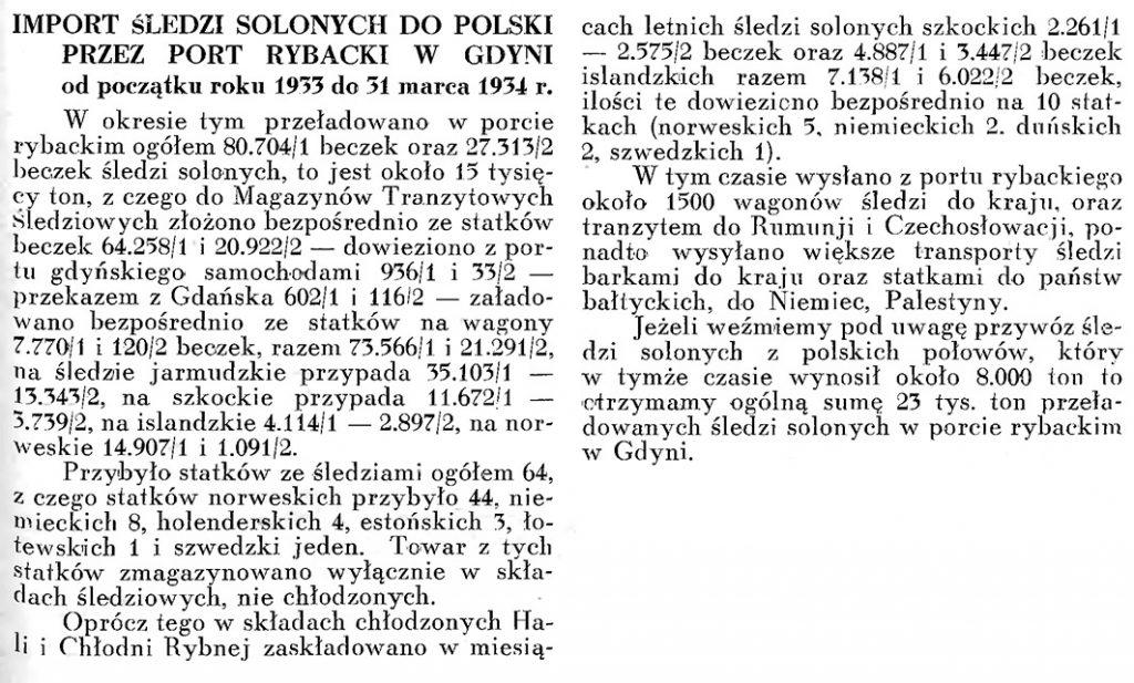 Import śledzi solonych do Polski przez port rybacki w Gdyni od początku roku 1933 do 31 marca 1934 r.