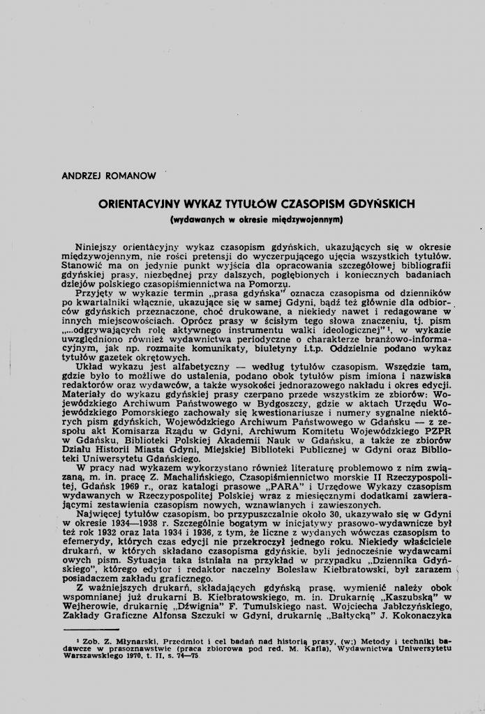 Orientacyjny wykaz tytułów czasopism gdyńskich (wydawanych w okresie międzywojennym)