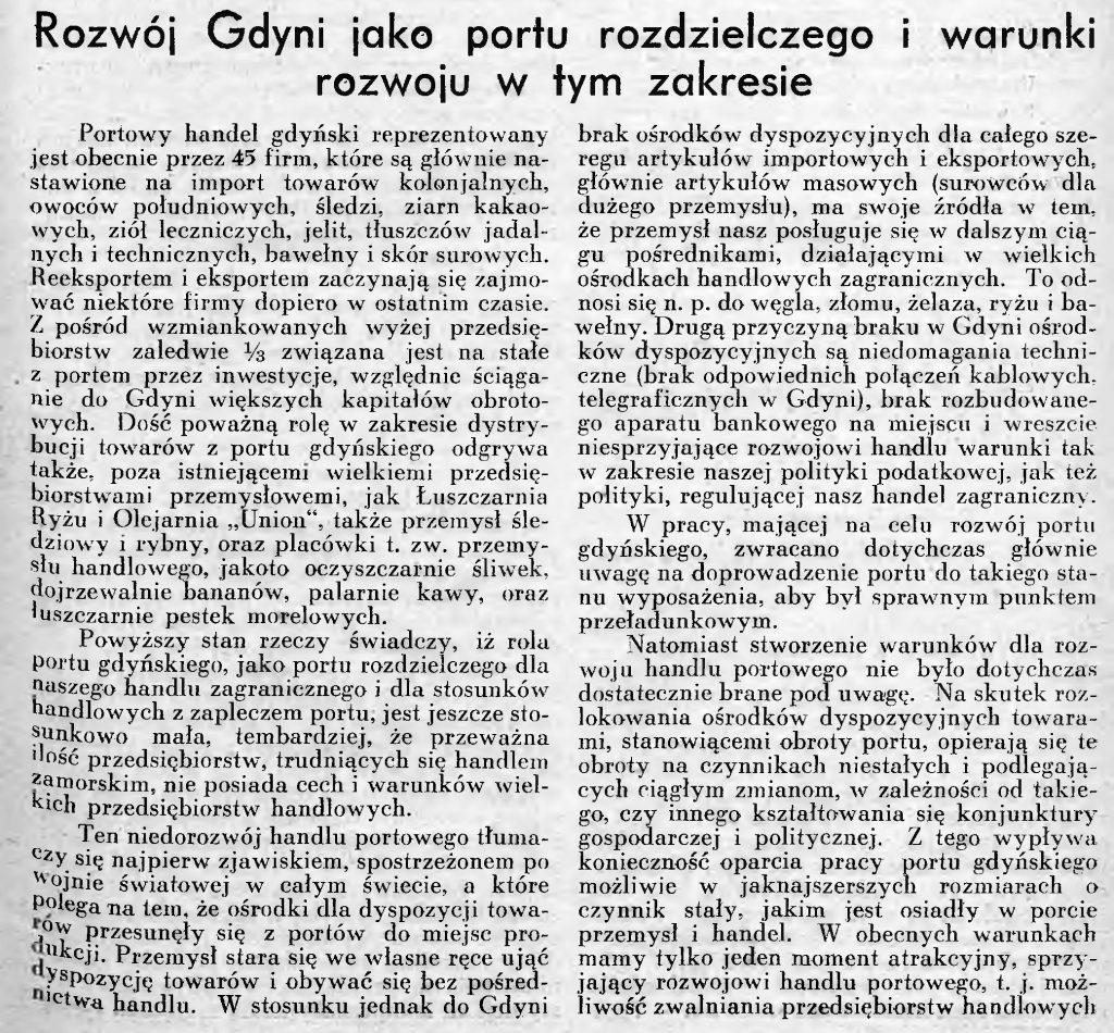 Rozwój Gdyni jako portu rozdzielczego i warunki rozwoju w tym zakresie