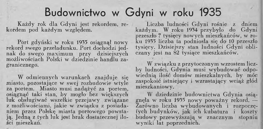 Budownictwo w Gdyni w roku 1935