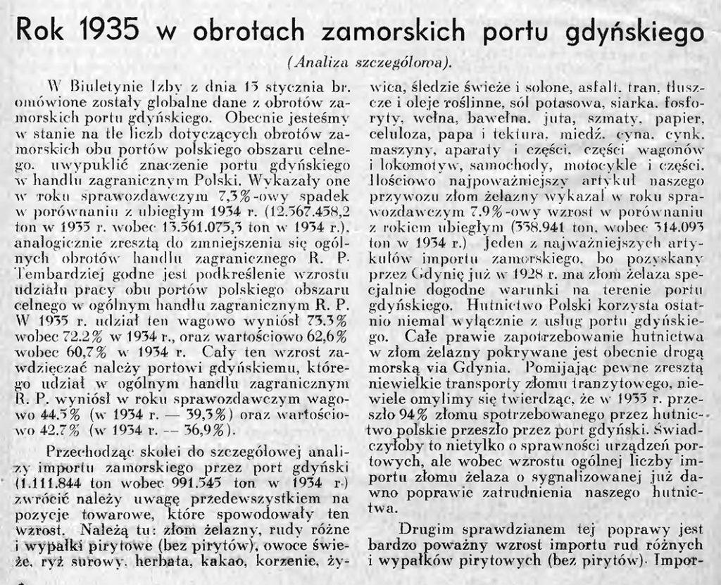 Rok 1935 w obrotach zamorskich portu gdyńskiego