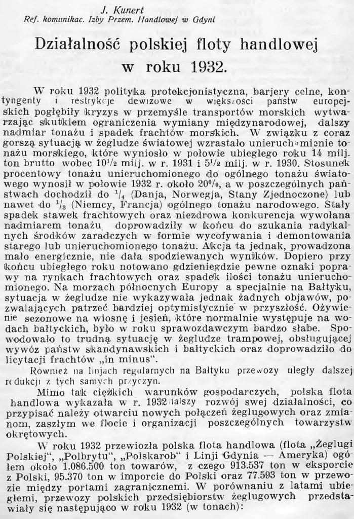 Działalność polskiej floty handlowej w roku 1932