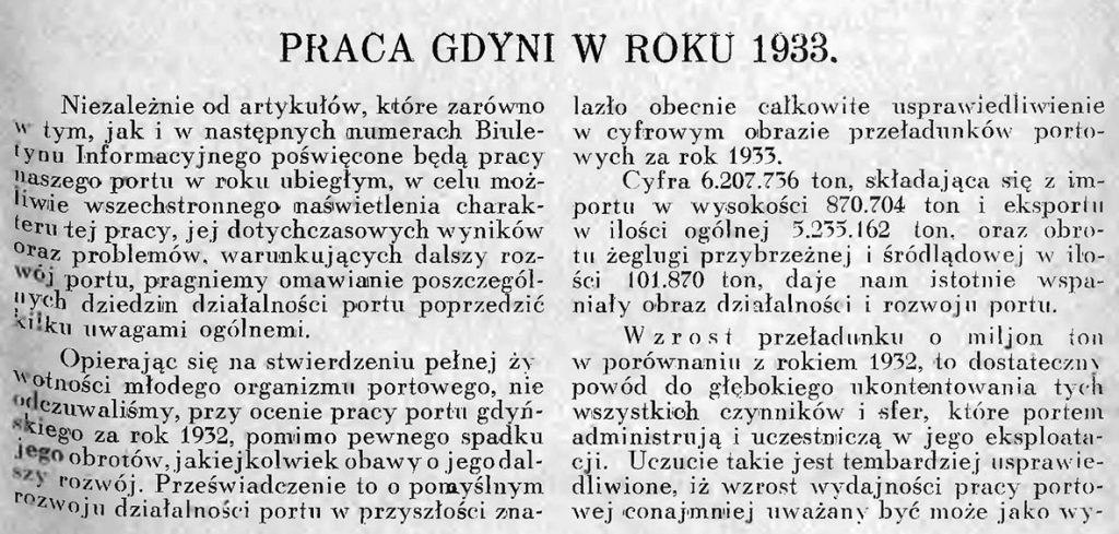 Praca Gdyni w roku 1933