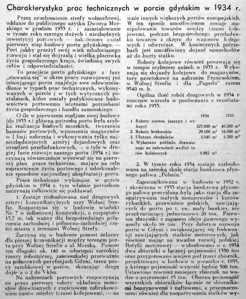 Charakterystyka prac technicznych w porcie gdyńskim w 1934 r. 1