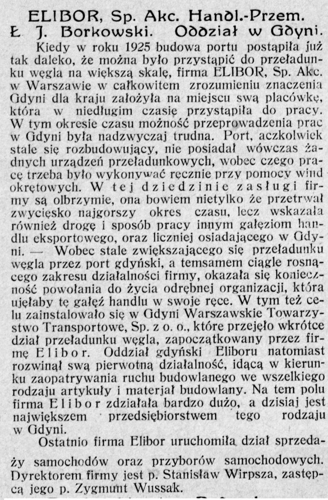 ELIBOR, Sp. Akc. Handl.-Przem. Ł. J. Borkowski. Oddział w Gdyni