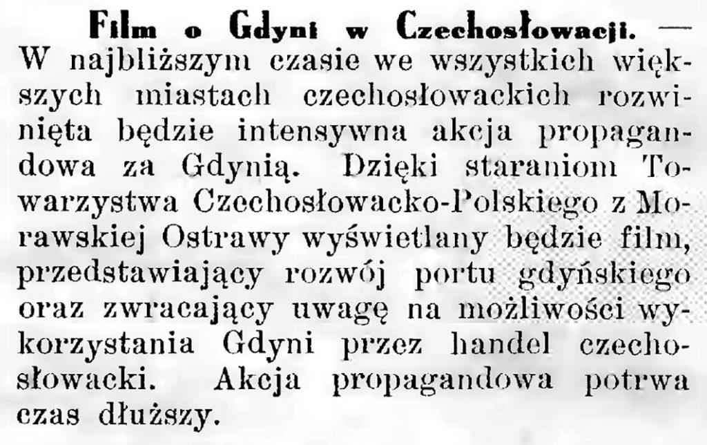 Film o Gdyni w Czechoslowacji