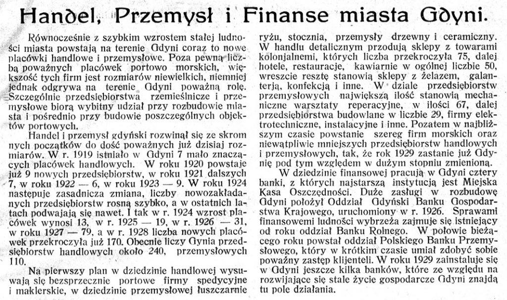 Handel, Przemysł i Finanse miasta Gdyni