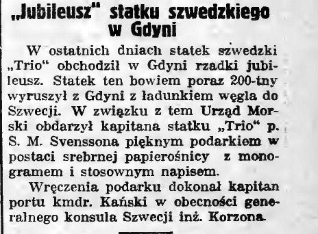Jubileusz statku szwedzkiego w Gdyni