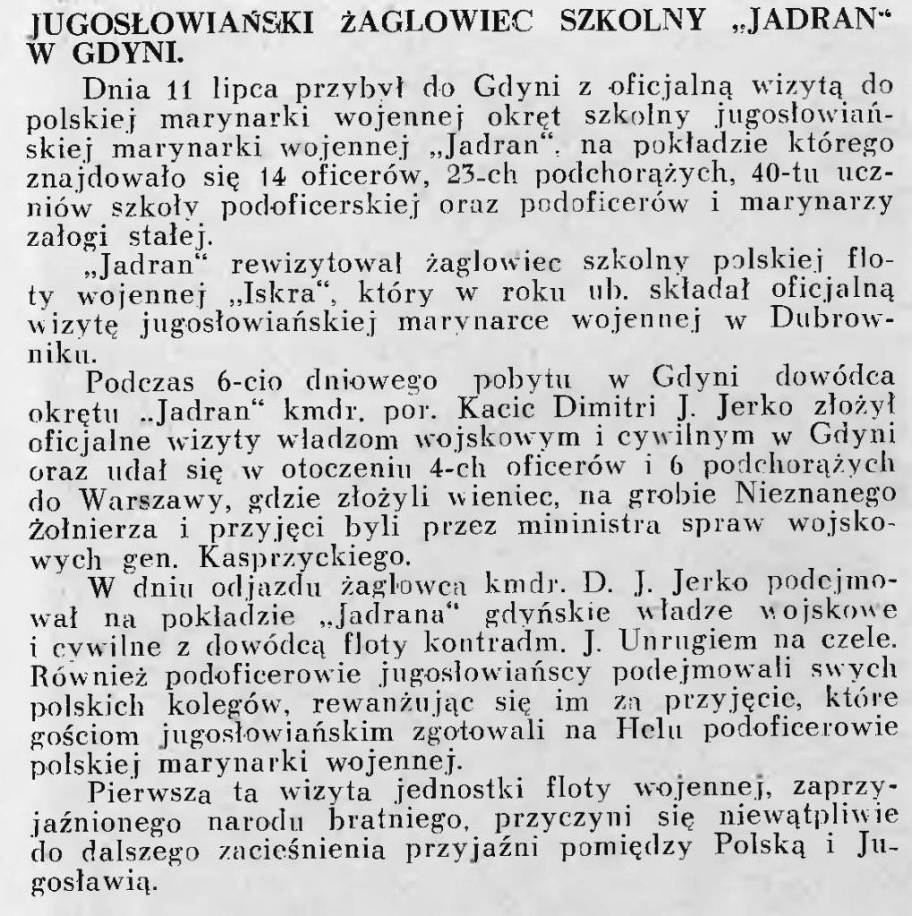 Jugosłowiański żaglowiec szkolny Jadran w Gdyni
