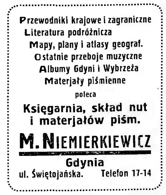 Księgarnia, skład nut i materjałów piśm. M. Niemierkiewicz, Gdynia, ul. Świętojańska