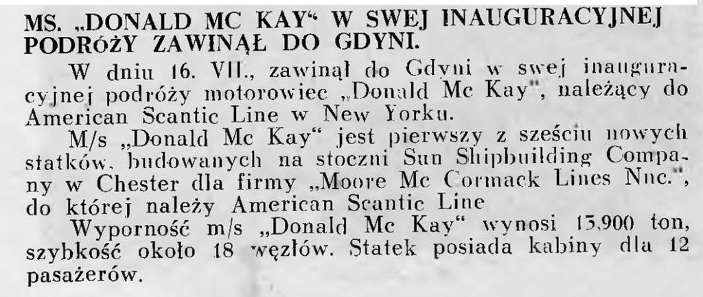 MS Donald Mc Kay w swej inauguracyjnej podróży zawinął do Gdyni